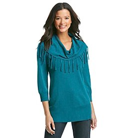 Notations® Fringe Cowlneck Sweater