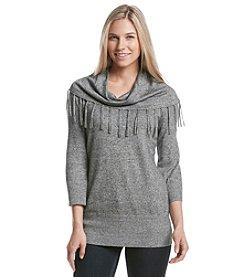 Notations® Marled Fringe Cowlneck Sweater