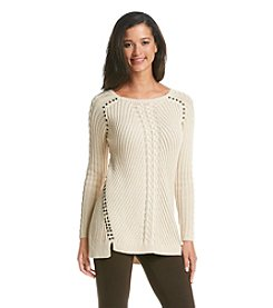 Chelsea & Theodore® Angled Ribbed Top With Studs