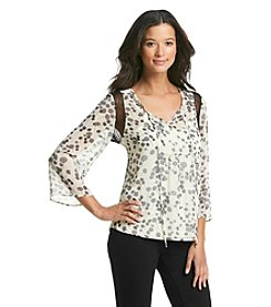 Black Rainn™ Printed Peasant Top