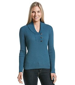 Jeanne Pierre® Three Button Cable Shawl Sweater