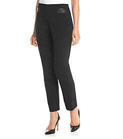 Prophecy Petites' Faux Leather Trim Pull On Pant