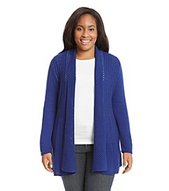 Notations® Plus Size Solid Fishtail Cardigan