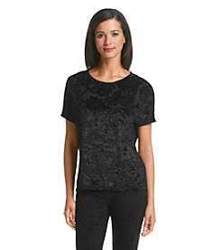 Bobeau Short Sleeve Velvet Top