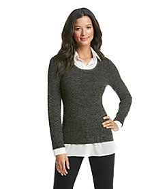 AGB® Marled Sweater With Woven Top
