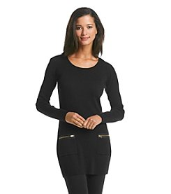 AGB® Tunic With Gold Tone Zippers