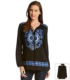 Karen Kane® Embroidered Peasant Top