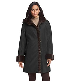 Gallery® Button Front Coat With Faux Fur Trim