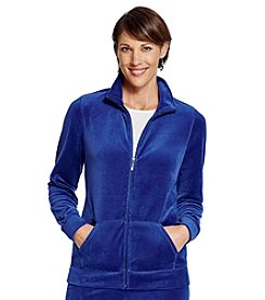 Studio Works® Petites' Zip Front Velour Jacket