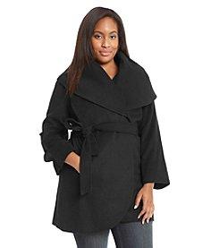 T Tahari® Plus Size Belted Wrap Coat