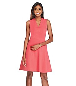 Nine West Ponte Fit And Flare Dress