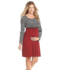 Three Seasons Maternity™ Long Sleeve Stripe & Solid Dress