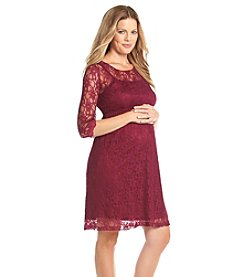 Three Seasons Maternity™ 3/4 Sleeve Solid Lace Overlay Dress