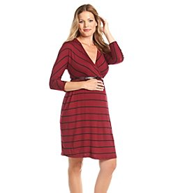 Three Seasons Maternity™ 3/4 Sleeve Surplice Belted Stripe Dress