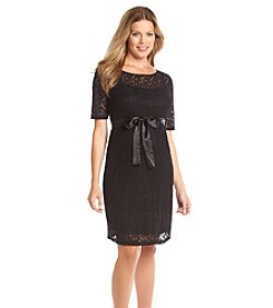 Three Seasons Maternity™ Elbow Sleeve Lace Belted Dress