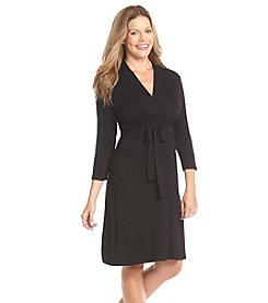 Three Seasons Maternity™ 3/4 Sleeve Surplice Solid Knit Dress