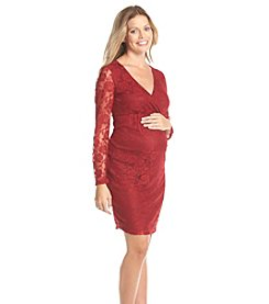 Three Seasons Maternity™ Long Sleeve Surplice Lace Dress