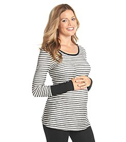 Three Seasons Maternity™ Long Sleeve Solid Cuff Stripe Knit Top