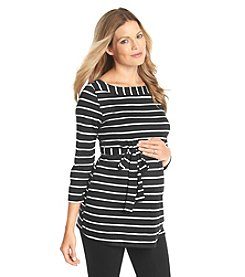 Three Seasons Maternity™ 3/4 Sleeve Boatneck Stripe Top