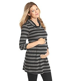 Three Seasons Maternity™ 3/4 Sleeve Cowl Neck Stripe Tunic