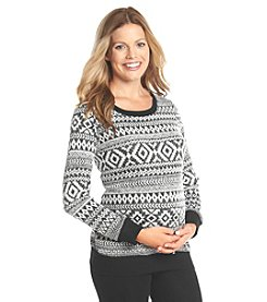 Three Seasons Maternity® Printed Fuzzy Top