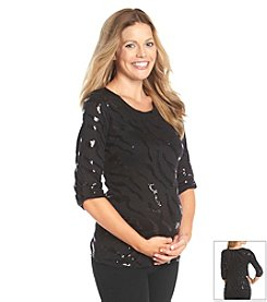 Three Seasons Maternity™ 3/4 Sleeve Sequin Design Solid Tunic