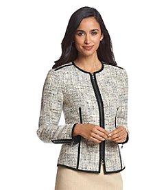 Anne Klein® Printed Zip-Front Jacket