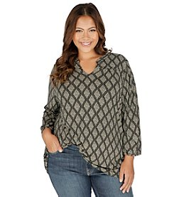 Lucky Brand® Plus Size Diamond Woodblock Top