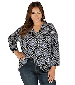 Lucky Brand® Plus Size Geo Print Top