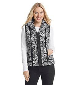 Laura Ashley® Petites' Zebra Puffer Vest