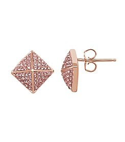 Impressions® Geometirc Stud Earrings in Sterling Silver with Rose Swarovski Crystal