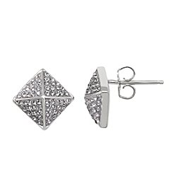 Impressions® Geometirc Stud Earrings in Sterling Silver with White Swarovski Crystal