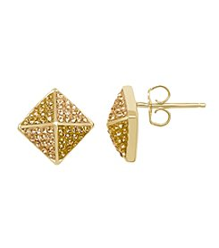 Impressions® Geometirc Stud Earrings in Sterling Silver with Golden Tone Swarovski Crystal