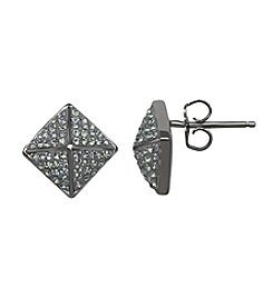 Impressions® Geometric Stud Earrings in Sterling Silver with Jet Black Swarovski Crystal