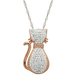 Impressions® Sterling Silver Cat Pendant with White Swarovski Crystals