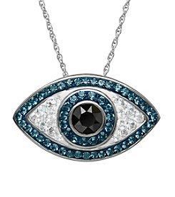 Impressions® Sterling Silver Evil Eye Pendant in Swarovski Crystals