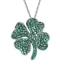 Impressions® Sterling Silver Four Leaf Clover Pendant in Swarovski Crystals