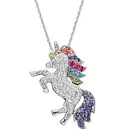 Impressions® Sterling Silver Unicorn Pendant in Swarovski Crystals