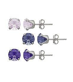 Impressions® Sterling Silver Earring Three Piece Box Set in Shades of Purple Swarovski Crystals