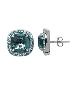 Impressions® Stud Earrings in Sterling Silver with Shades of Blue Swarovski Crystal