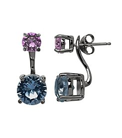 Impressions® Earrings in Sterling Silver with Purple and Blue Swarovski Crystal