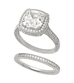 Balentino® Sterling Silver White Swarovski Cubic Zirconia Cushion Cut Ring