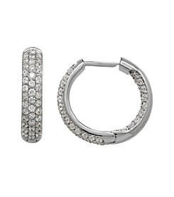 Balentino® Sterling Silver White Swarovski Cubic Zirconia Hoop Earring