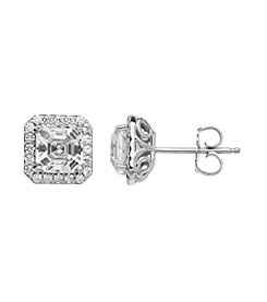 Balentino® Sterling Silver White Swarovski Cubic Zirconia Assher Cut Earrings