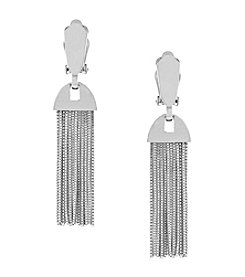 Vince Camuto™ Silvertone Drop Fringe Clip Earrings