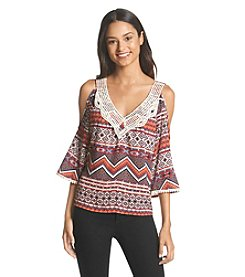 Sequin Hearts® Printed Crochet Top