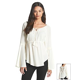 Sequin Hearts® Lace Peasant Top
