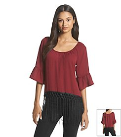 Sequin Hearts® Fringe Peasant Top