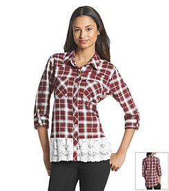 Sequin Hearts® Plaid Lace Shirt