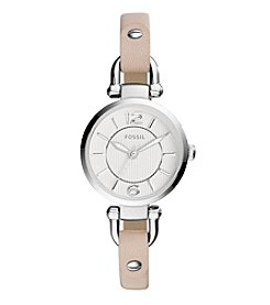 Fossil® Women's Georgia Watch In Silvertone With Bone Leather Strap